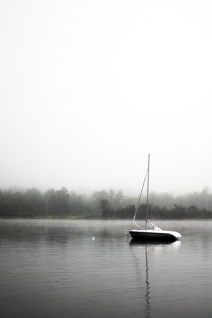 sail, boat, anchoring, calm, seascape, sailboat, lake