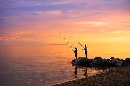 mar Egeu, nou il·luminat, imatge en color, espai de còpia, capvespre, Europa, pescador