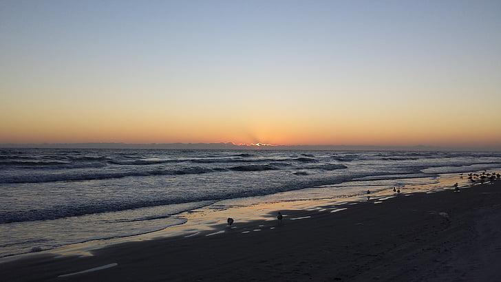 Ocean, morgon, Vacker, resor, Sky, Dawn, Sunrise beach