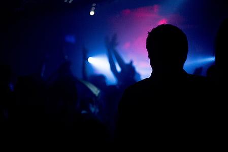 night club, silhouette, party, club, music, night, crowd