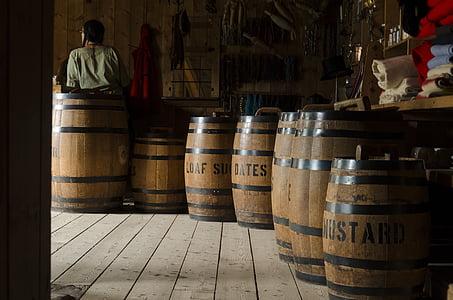 barriques, bois, en bois, stockage