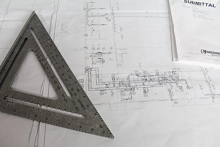 construcció, plans de, plaça, Pla, edifici, arquitecte, arquitectura
