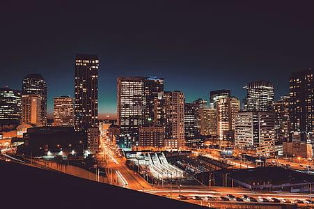 tinggi, sudut, foto, naik, bangunan, Kota, matahari terbenam