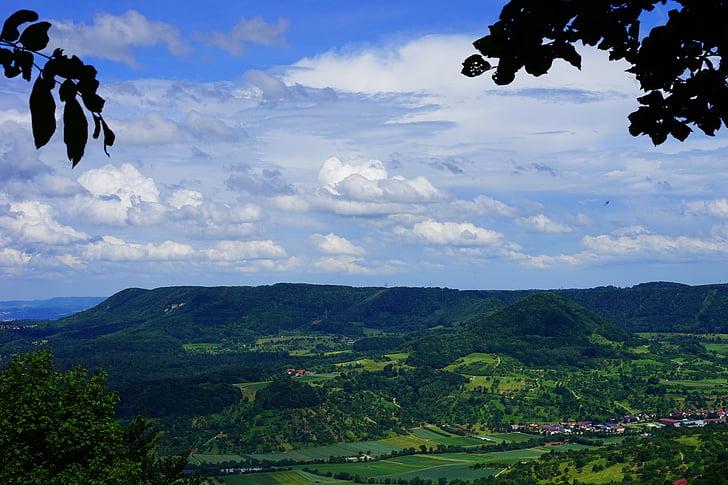 Swabian alb, muntanya de testimoni, punt de vista, Mörike Roca, idil·li, Vista aèria, ràfecs ALB