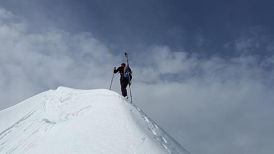 Backcountry skiiing, toppmøtet, Fjellklatring, fjellklatrer, snøen ryggen, alpint, snø