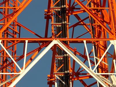 라디오 타워, 라디오 돛대, greened, 송신 탑, 금속, 스트럿, 철