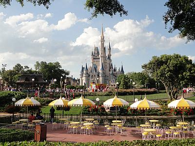 disneyland, disney, castle, fantasy world, florida, amusement park, architecture