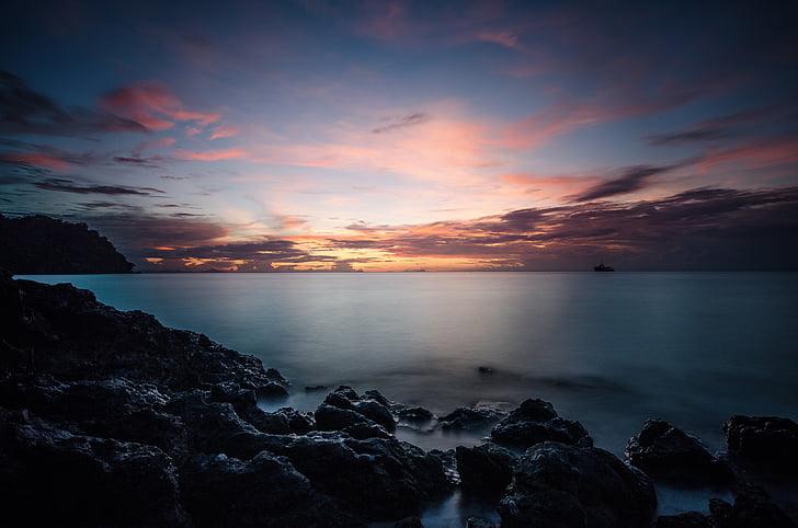 havsutsikt, soluppgång landskap, soluppgång, Ocean, solnedgång, solljus, ön