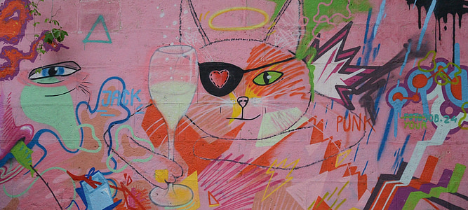 grafiti, seni jalanan, dinding, perkotaan, semprot, merah muda, seni
