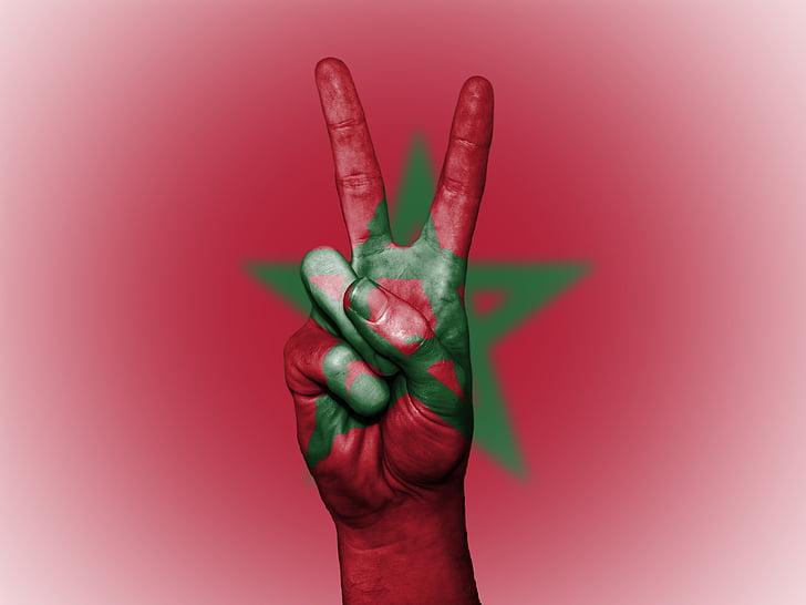 Marroc, Pau, mà, nació, fons, Banner, colors
