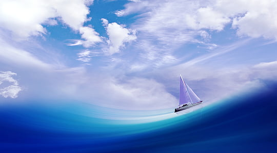 ship, boot, wave, sea, water, sail, sky