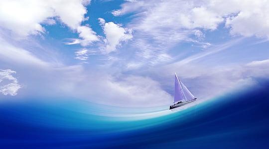nave, avvio, onda, mare, acqua, vela, cielo