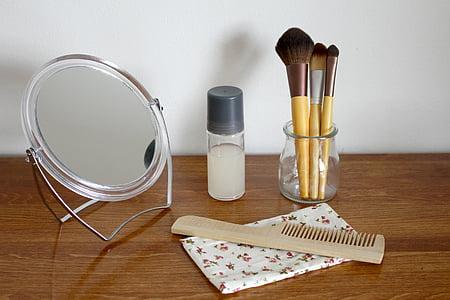cosmetics, natural cosmetics, brush, cosmetic brush, nature, beauty, glass