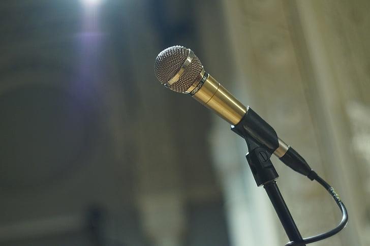 micrófono, escena, plafones