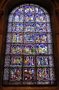 iekrāso, stikls, logs, katedrālē, reliģiskā, Canterbury, vitrāžas