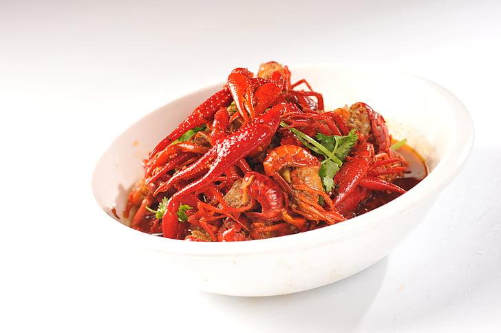 辣螯虾, 特价, 辛辣的味道, 香菜, 红色, 湖南, 美味