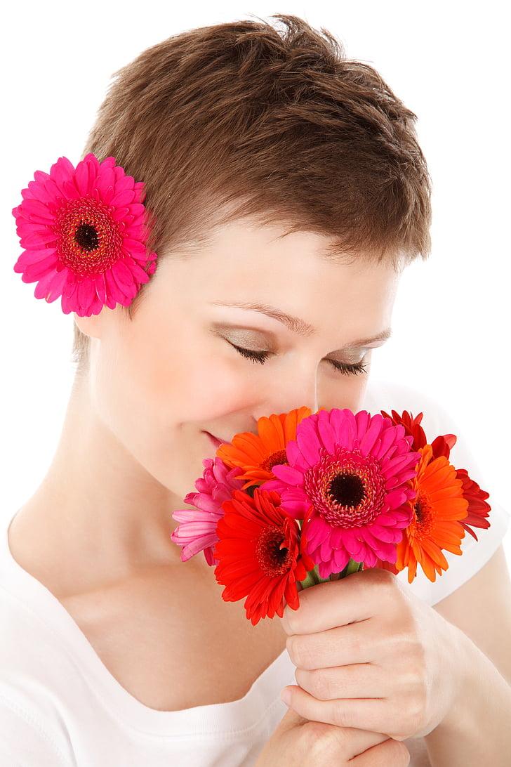 RAM, bellesa, cara, femella, flor, fresc, noia