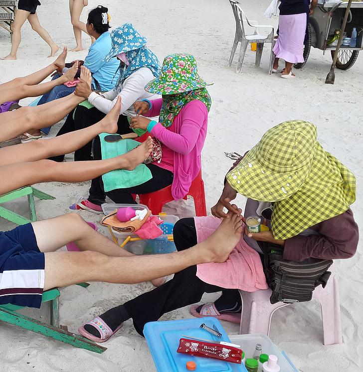 massatge, platja, cames, massatge tailandès, vacances, treball, sorra
