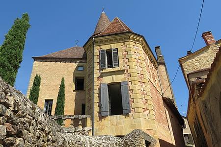 poble, Perigord, Dordonya, Lubéron, França, Castell, medieval