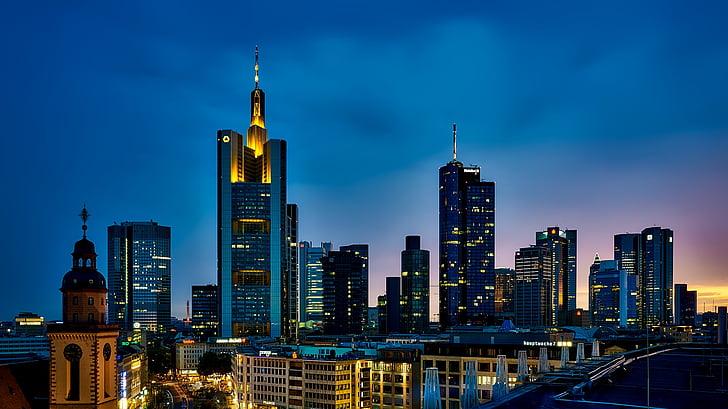 Frankfurt, Alemanya, panoràmica, ciutat, urbà, horitzó, paisatge urbà