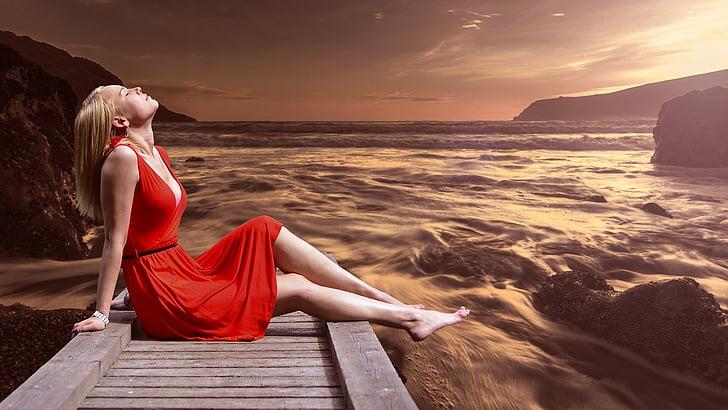 Spa, meditasjon, modell, rød, kjole, elven, solen