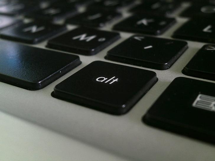 klávesnica, laptop, kláves ALT, ALT, kľúč, počítač, Technológia