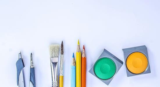 terisolasi, putih, seni, Alat, Tutup, tinta India tusche, warna