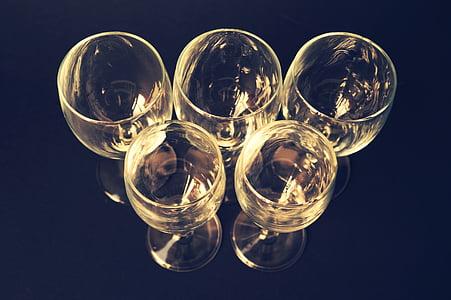 iznad, povećani prikaz, Olimpijski, čaše za vino, Nema ljudi, crna pozadina, Krupni plan