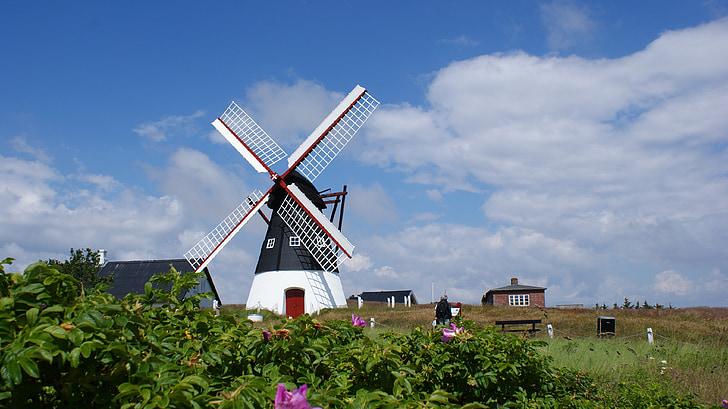 вятърна мелница, Северно море, römö, настроение, Дания, сграда, въртележка