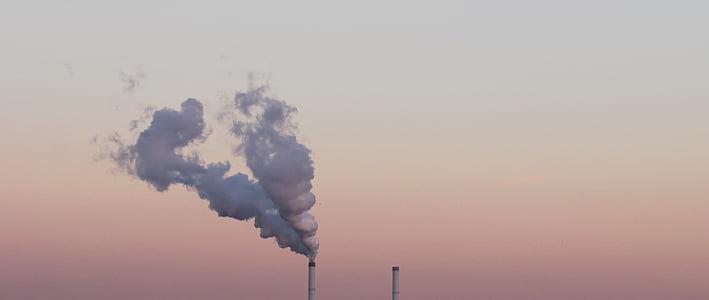 contaminació atmosfèrica, Alba, capvespre, panoràmica, contaminació, fum, vapor