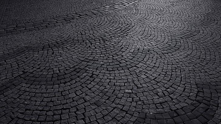 route de galets, route pavée, Cobblestone, passage couvert de Pierre, chemin de Pierre, rue médiévale, noir et blanc