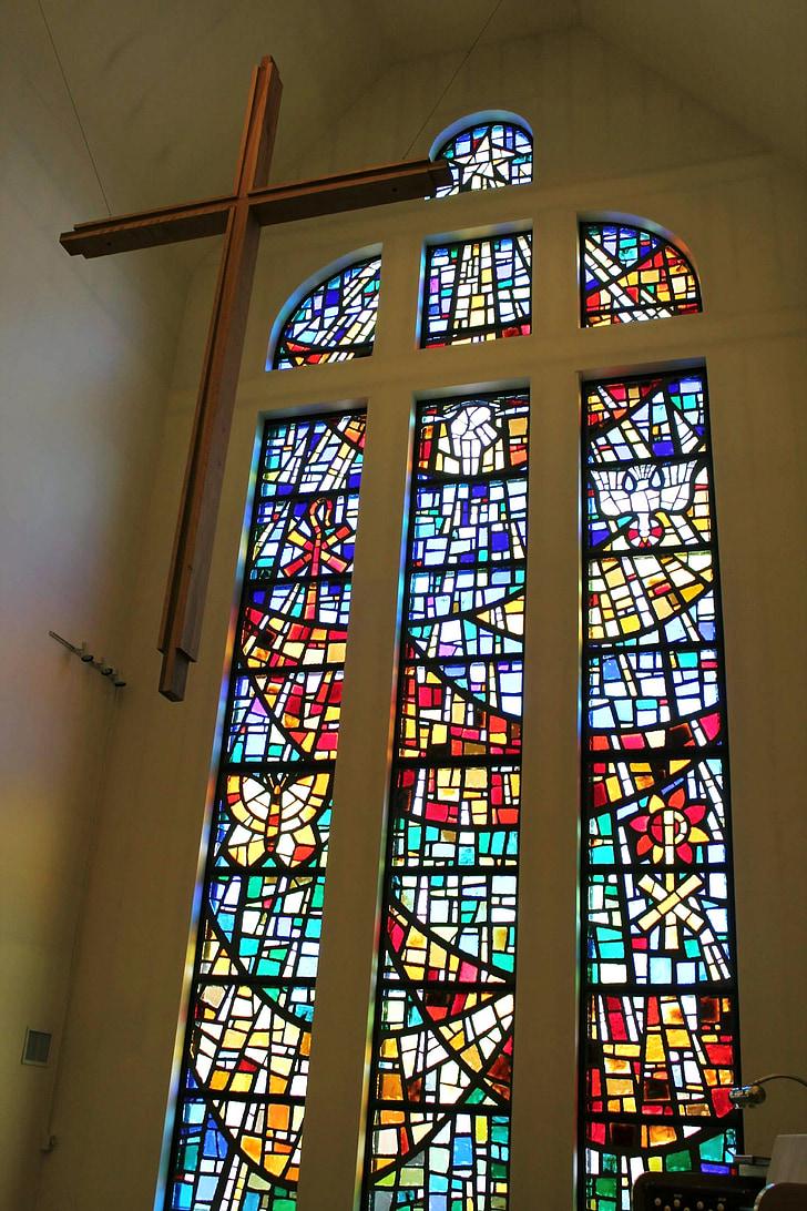 vidrieres, Creu, vidre, l'església, Vitrall, religiosos, cristiana