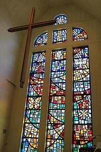 彩色玻璃, 十字架, 玻璃, 教会, 彩色玻璃窗口, 宗教, 基督教