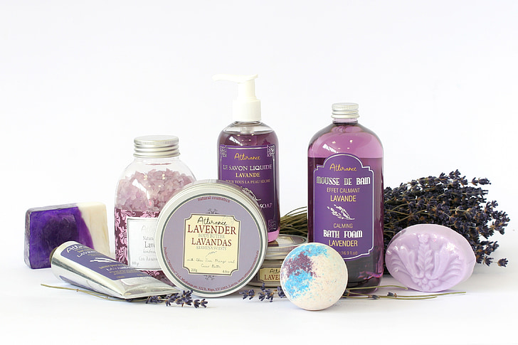 lavender products, soap, body, cosmetics, oil, aromatherapy, care