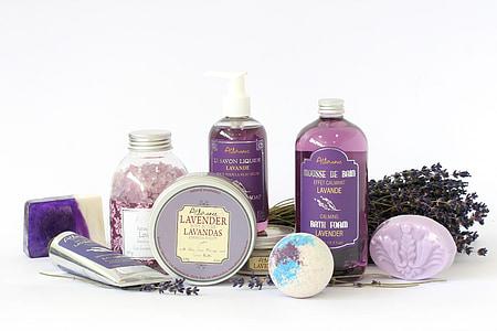 prodotti lavanda, sapone, corpo, cosmetici, olio, aromaterapia, cura