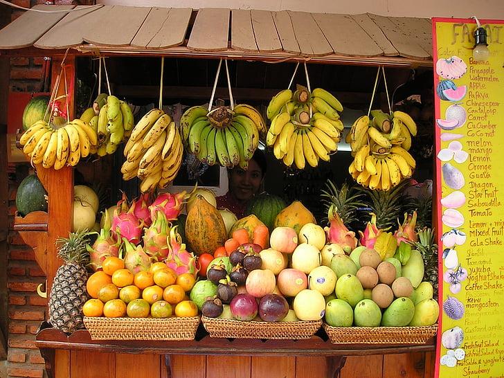 augļi, augļi, augļu stends, augļu sula, sulas, dienvidaustrumi, Āzija