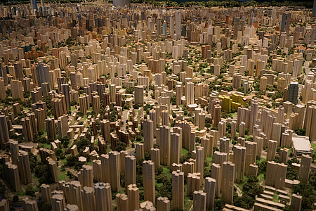 modelo, ciudad, arquitectura, planificación urbana, Shanghai, urbana