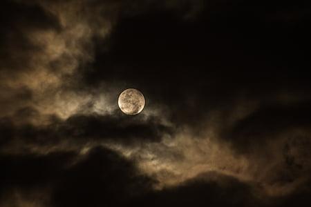 Foto, full, månen, skyen, nattehimmelen, skyet, astronomi