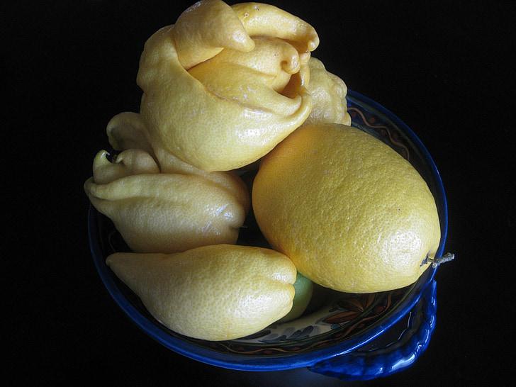 llimones, fruita, bol, cítrics, estrany, aliments, fresc