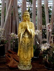 Buda, estàtua, escultura, figura de pedra, or, Art, Àsia
