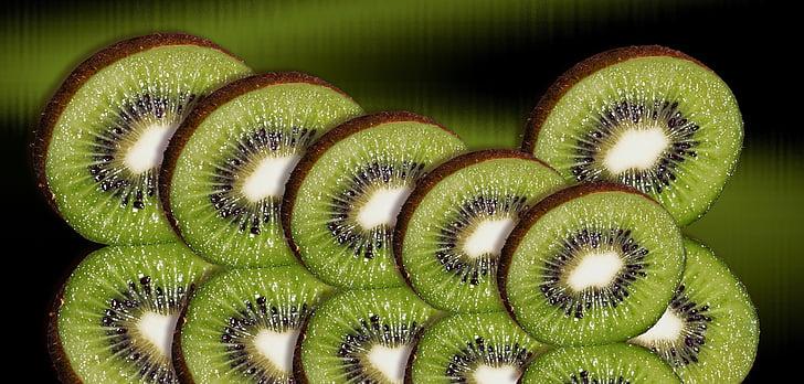 Kiwi, frugt, Kiwi skiver, arrangement, grøn, smag, diske