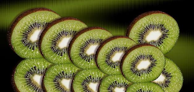 Kiwi, buah, irisan Kiwi, pengaturan, hijau, rasa, cakram