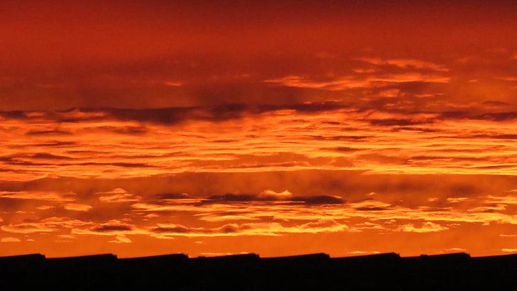 céu da noite, céu, nuvens, pôr do sol, arrebol