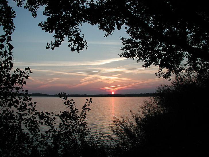 일몰, 호수, abendstimmung, 자연, 황혼, 태양