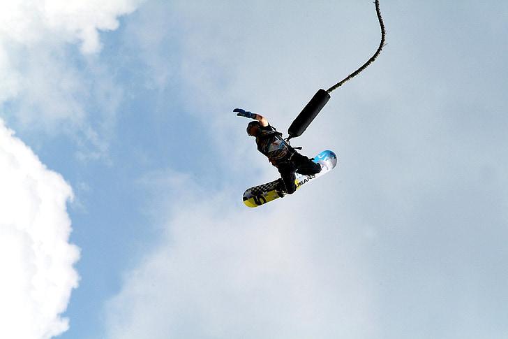 bungee jumping, limits, bungee, snovborda, valdes adrese, Icarus, adrese augšā