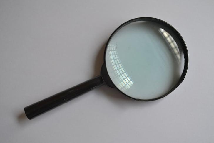 lente di ingrandimento, vetro, aumentare, lente, ricerca