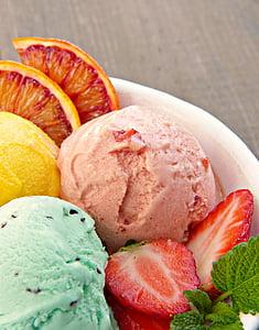 ice cream sundae, ice cream, fruit ice cream, mint, strawberries, blood orange, bio