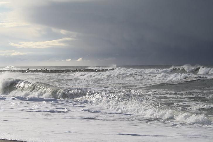 Costa, endavant, platja, ona, oceà, navegar per, Onatge