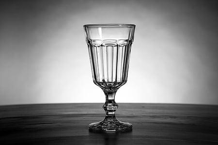 staklo, kup, piće, čašu vina, crno i bijelo, mrtva priroda, kuhinja