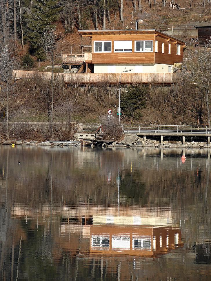 Llac, reflectint, paisatge, reflexió, encara, casa